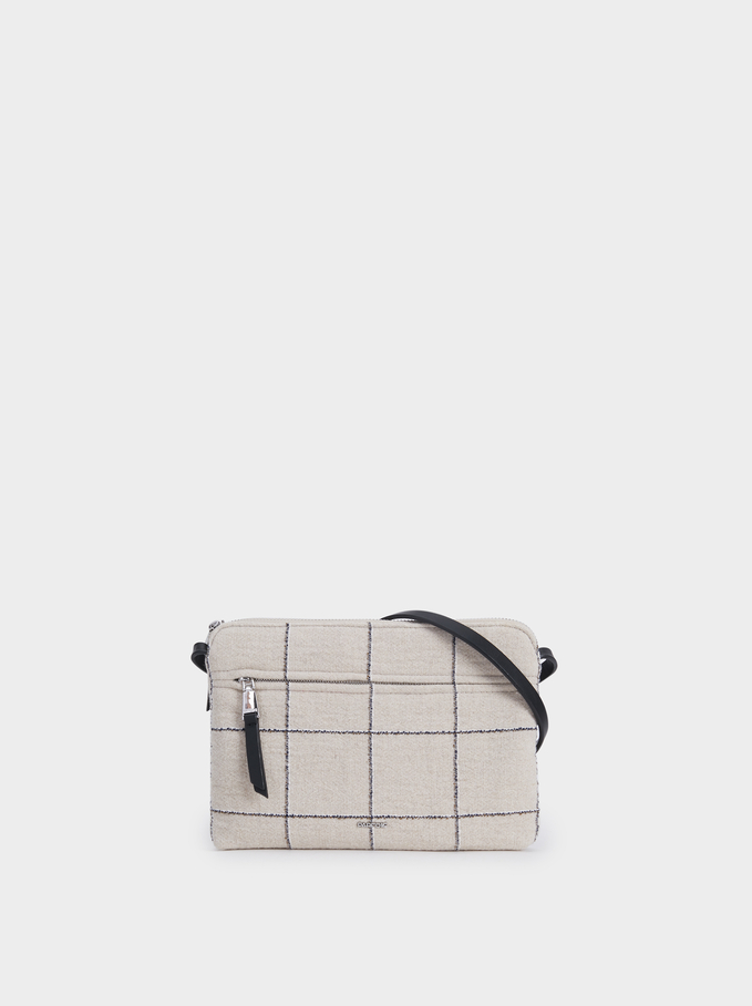 Check Crossbody Bag, Ecru, hi-res