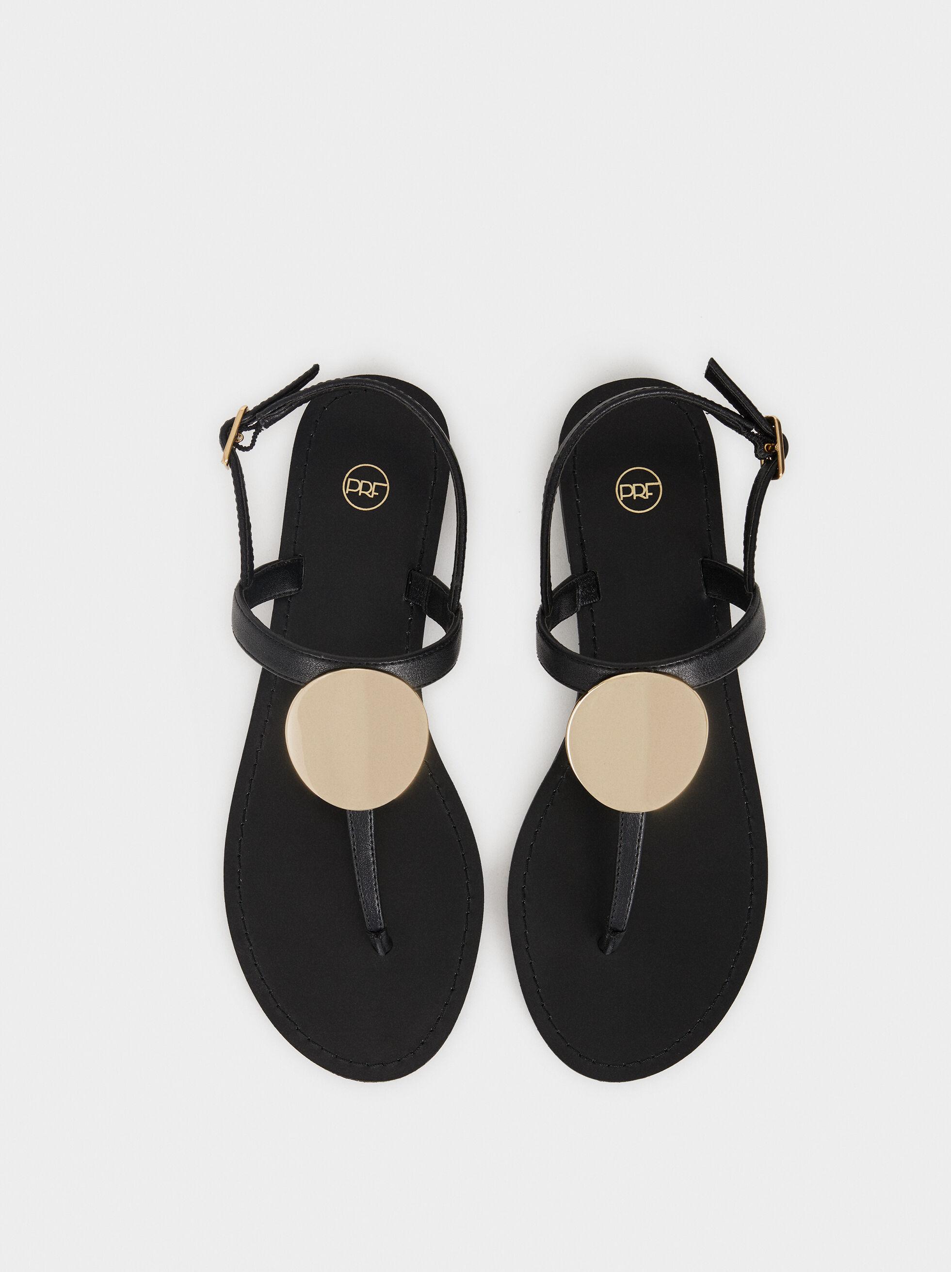 Flat Sandals With Metallic Detail, Black, hi-res