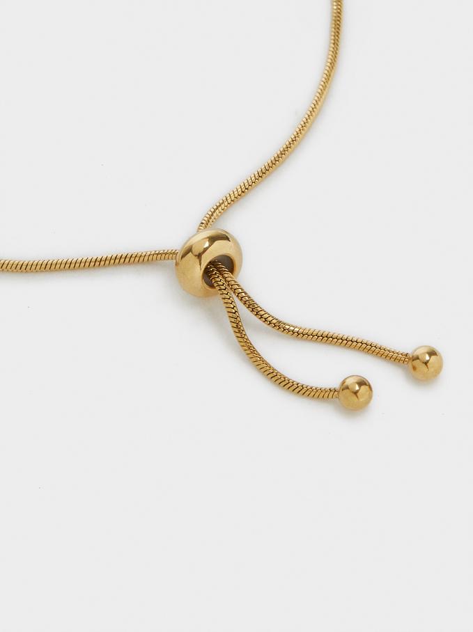 Adjustable Steel Bracelet With Shamrock, Golden, hi-res