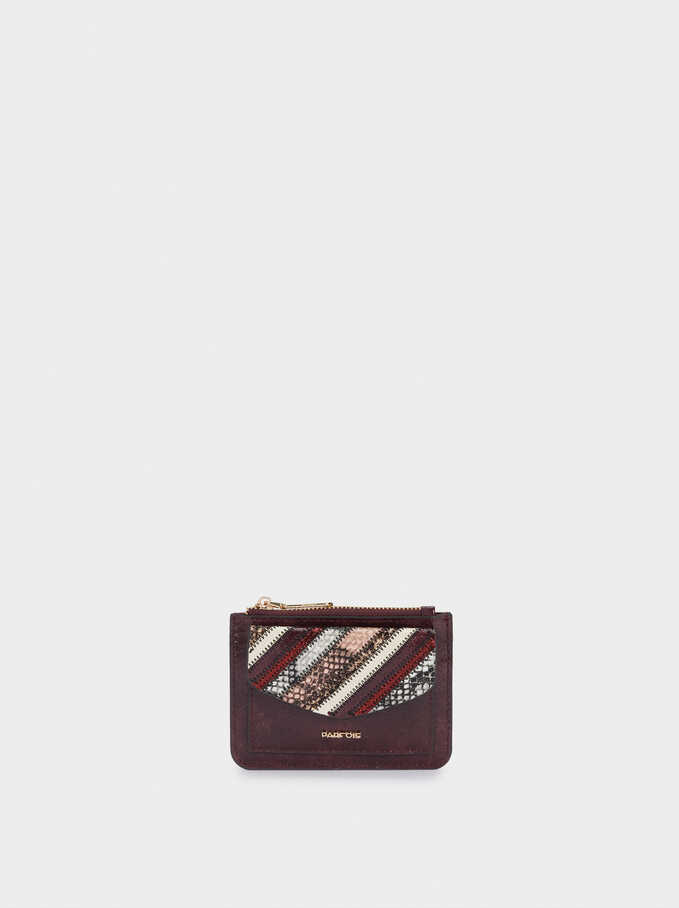 Card Holder With Chain And Coin Purse, Brown, hi-res