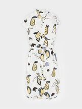 Pear Print Shirt Dress, White, hi-res