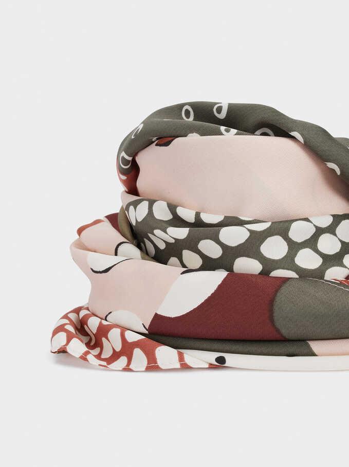 Multicoloured Print Square Handkerchief, Pink, hi-res