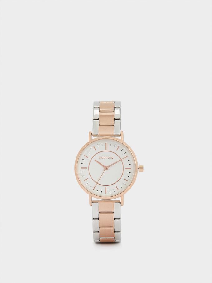 Zegarek Z Dwukolorowym Metalowym Paskiem, Pomaranczowy, hi-res