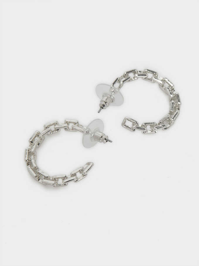 Small Link Hoop Earrings, Silver, hi-res