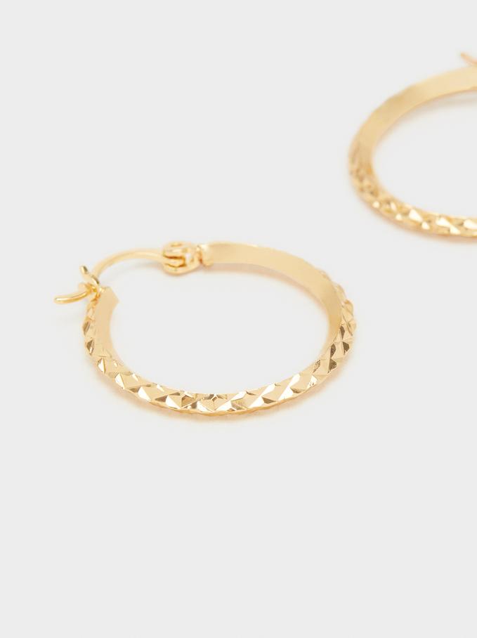 Basic Medium Hoop Earrings, Golden, hi-res