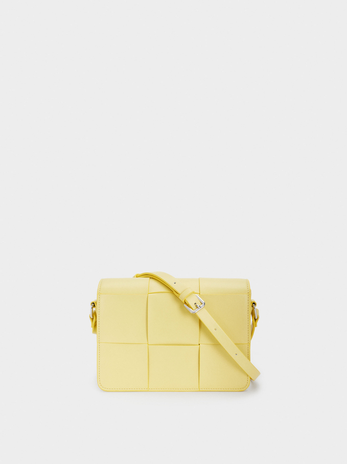 Braided Crossbody Bag With Front Flap Closure, Yellow, hi-res