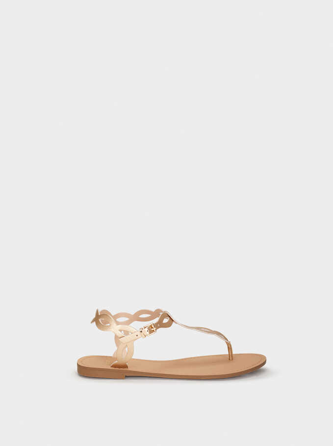 Flat Strappy Sandals, Golden, hi-res