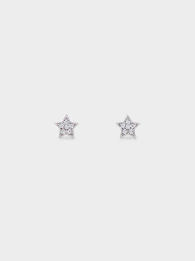 Pendientes Cortos De Plata 925 Con Estrellas, Plateado, hi-res