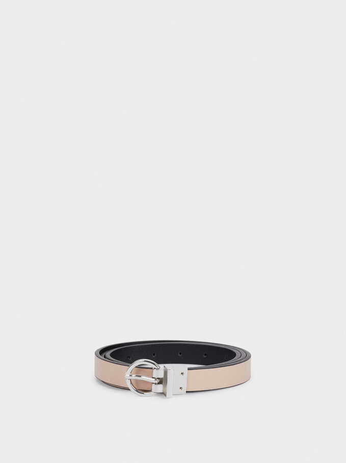 Reversible Belt With Metallic Buckle, Black, hi-res