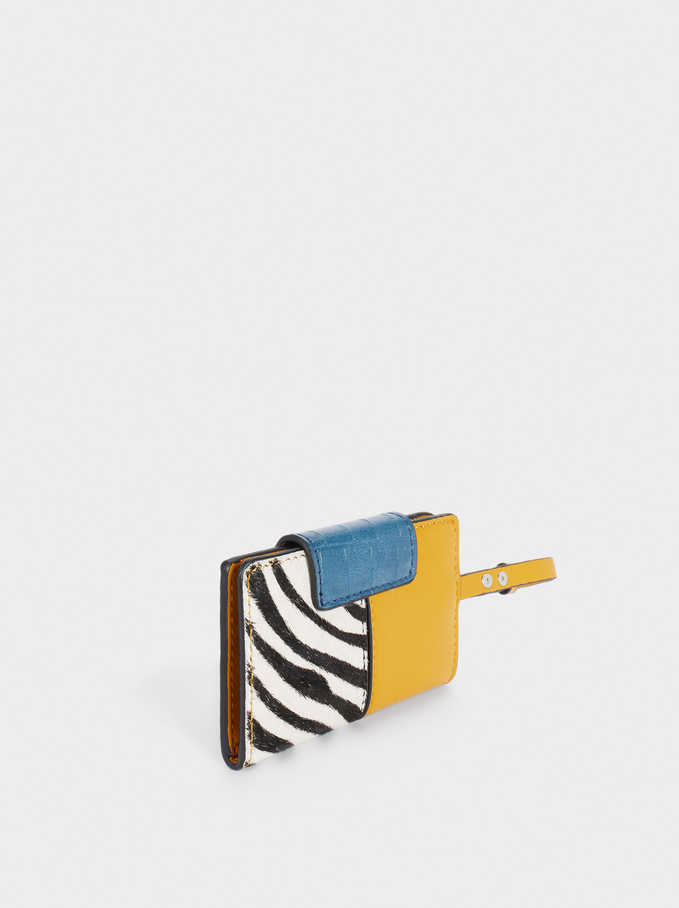 Patchwork Design Card Holder With Purse, Yellow, hi-res
