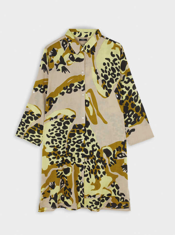 Animal Print Shirt Dress, Multicolor, hi-res