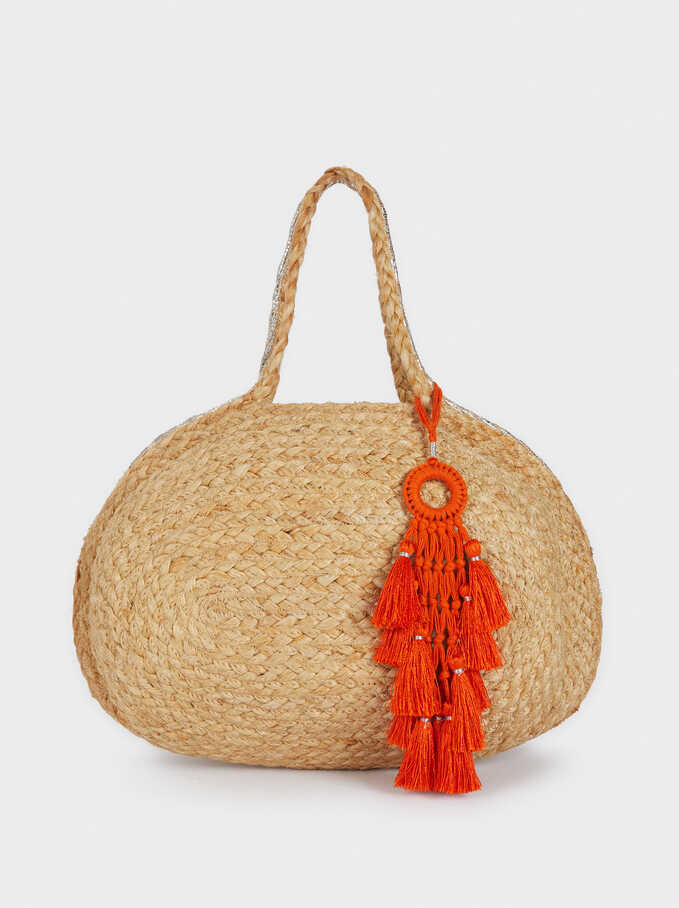 Raffia Textured Tote Bag, Beige, hi-res
