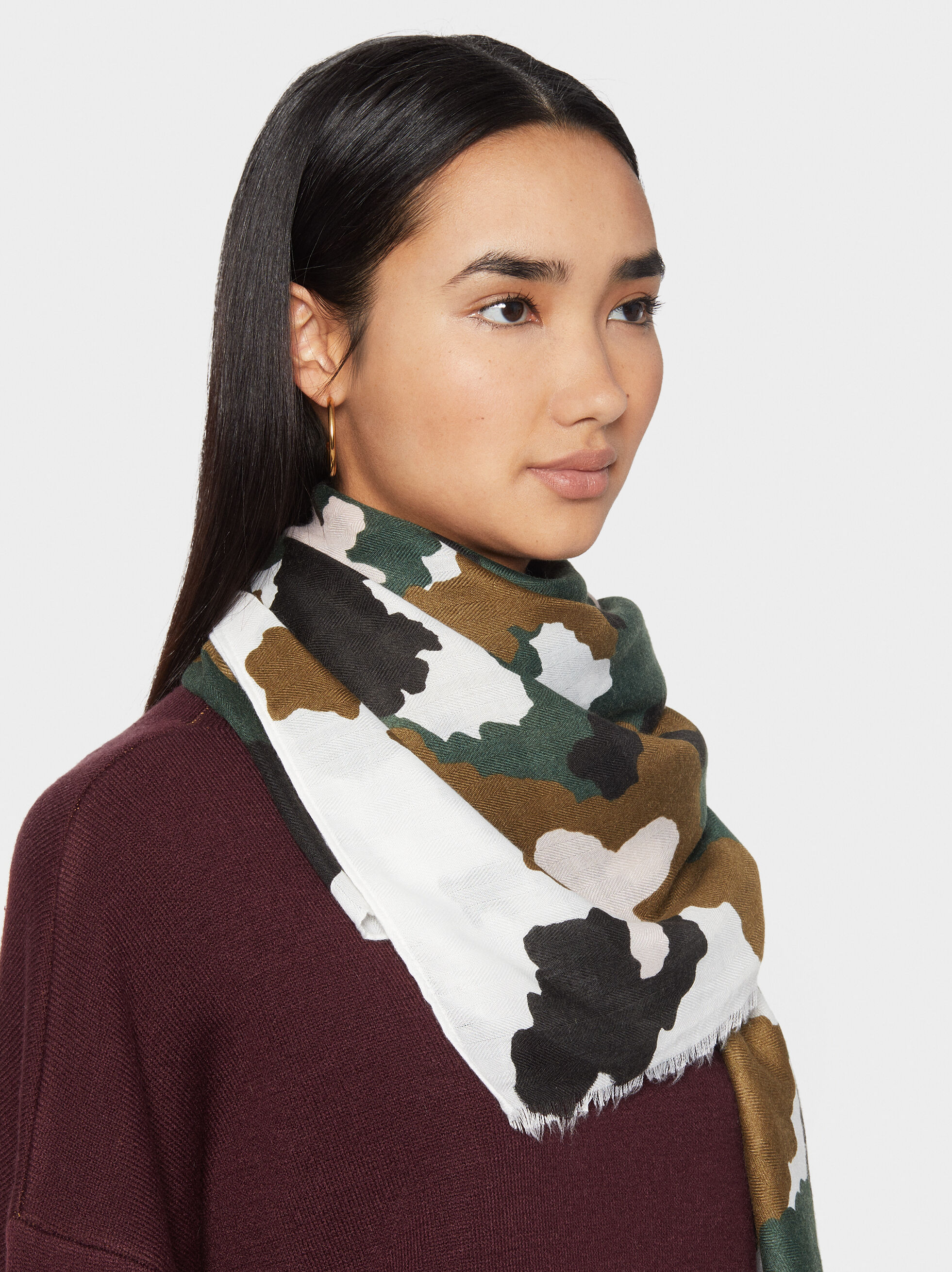 Camouflage Print Scarf, Green, hi-res