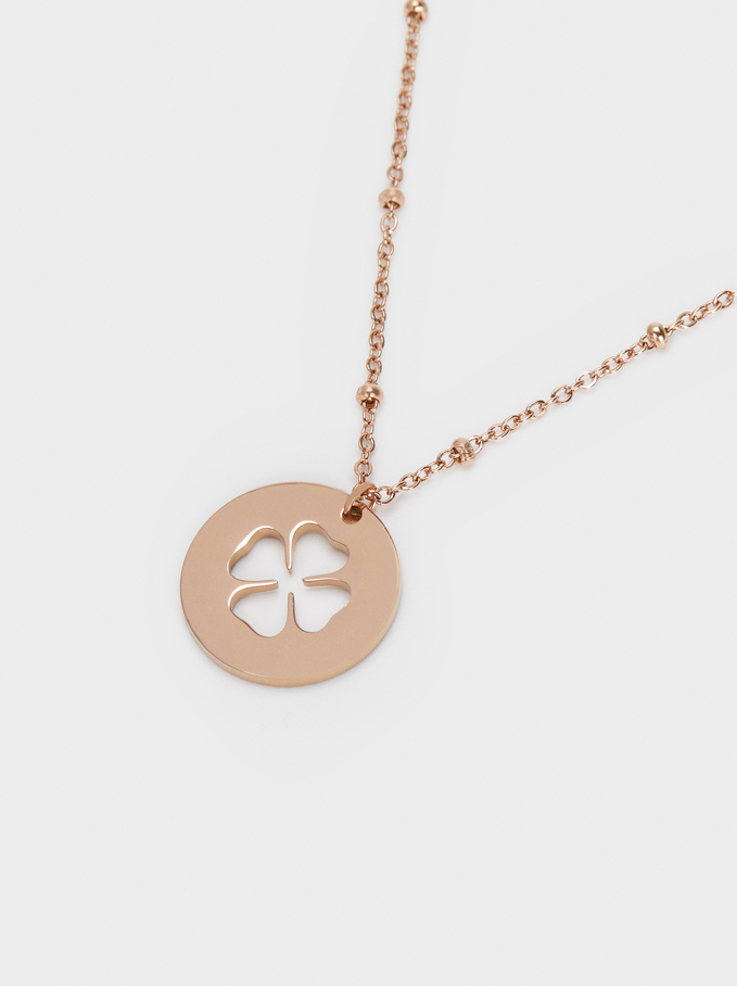 Short Stainless Steel Necklace With Shamrock, Orange, hi-res