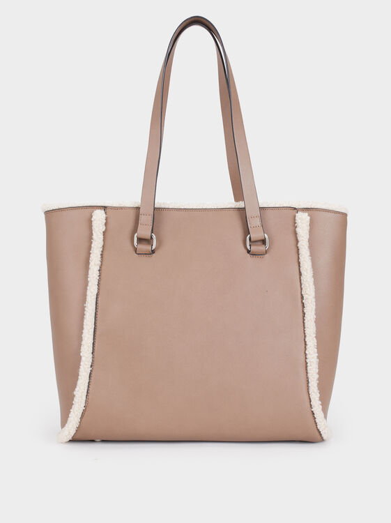 Tote Bag With Fur Details, Brown, hi-res