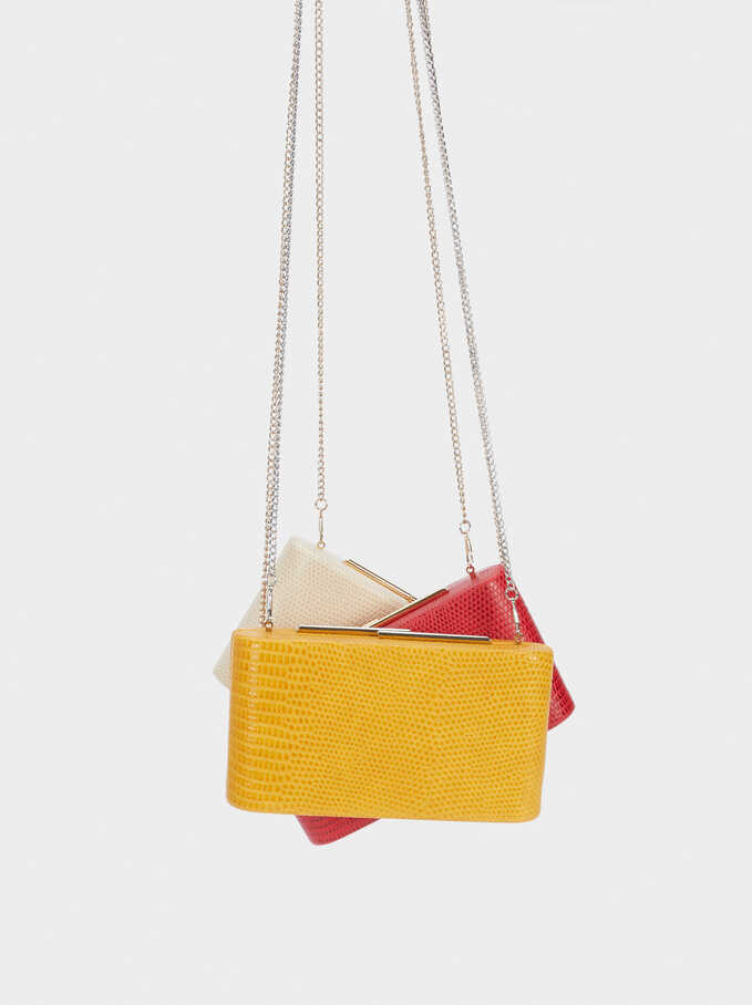 Embossed Animal-Print Party Clutch, Mustard, hi-res