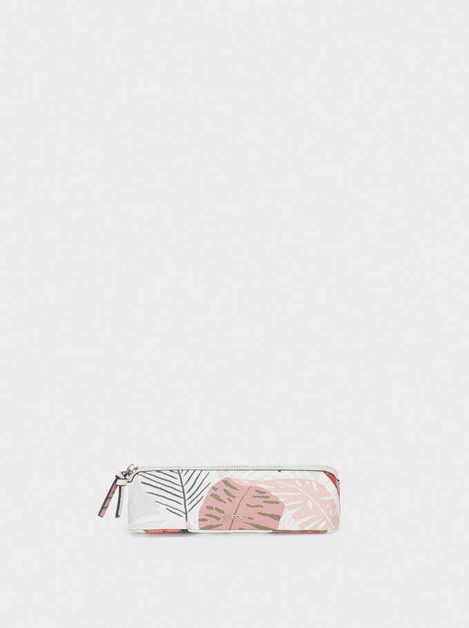 Leaf Print Pencil Case, Ecru, hi-res