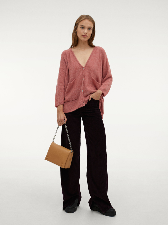Knit Sweater With Buttons, Pink, hi-res