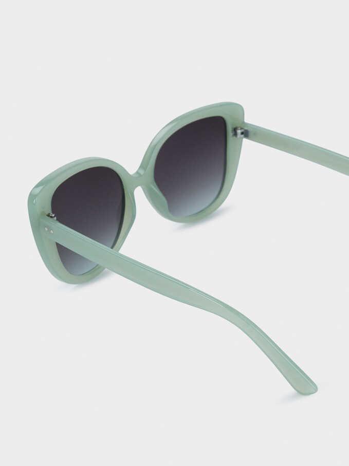 Round Plastic Frame Sunglasses, Green, hi-res