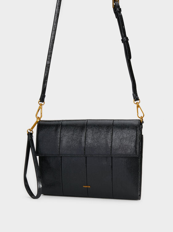 Plain Crossbody Bag, Black, hi-res