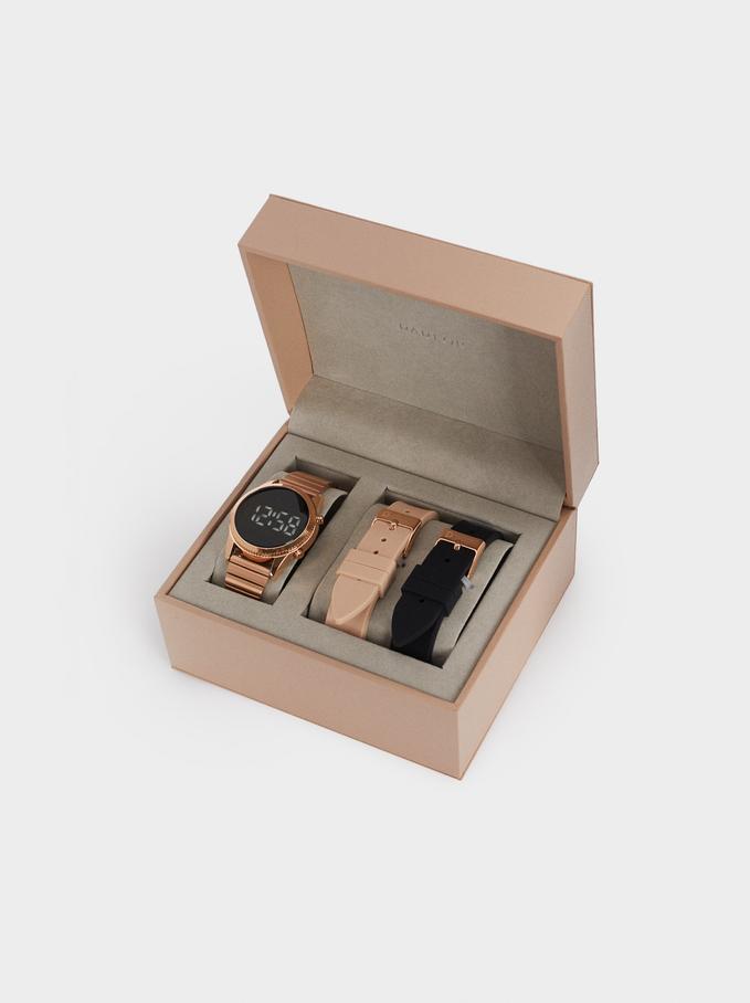 Relógio Digital Com Braceletes Intercambiáveis, Laranja, hi-res