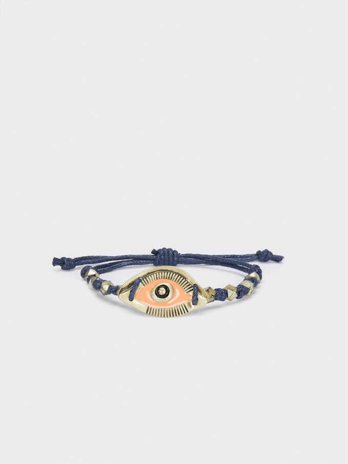 Multicoloured Adjustable Bracelet With Eye Charm, Multicolor, hi-res