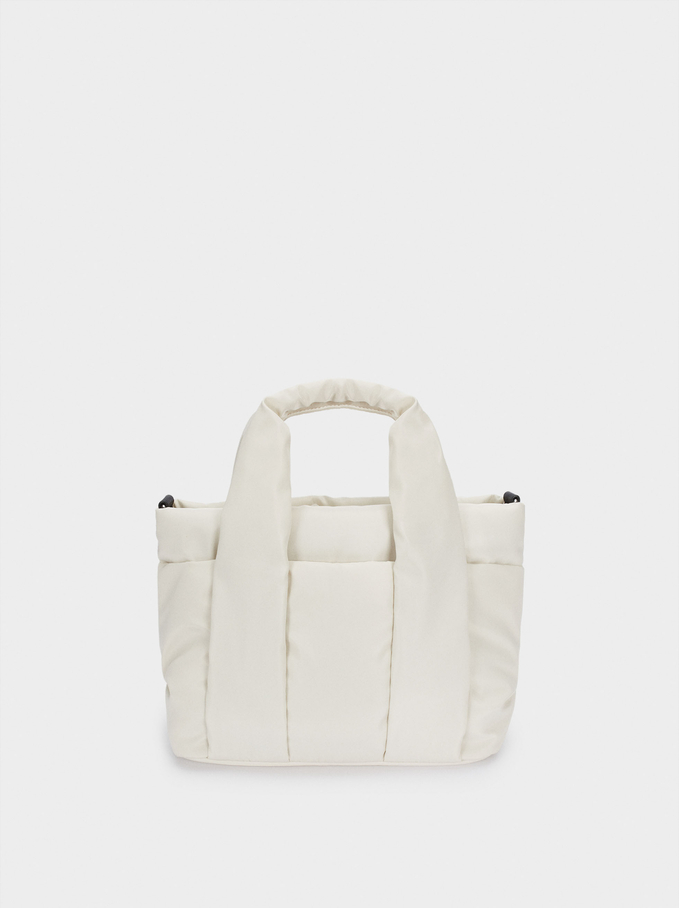 Nylon Tote Bag With Shoulder Strap, Ecru, hi-res
