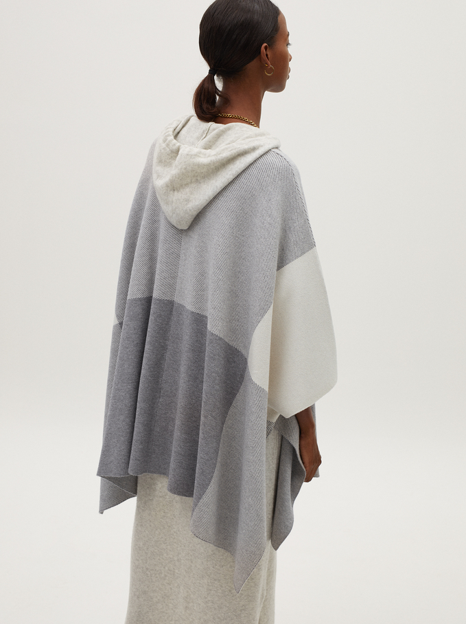 Multicoloured Print Knit Poncho, Grey, hi-res