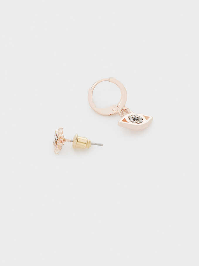 Rose Gold Hoop Earrings Set, Orange, hi-res