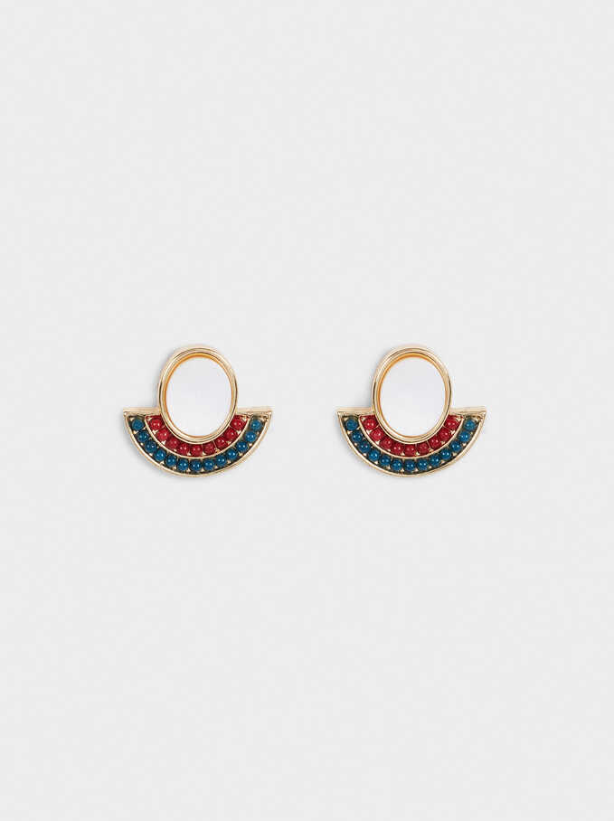 Short Golden Earrings With Shell And Beads, Multicolor, hi-res