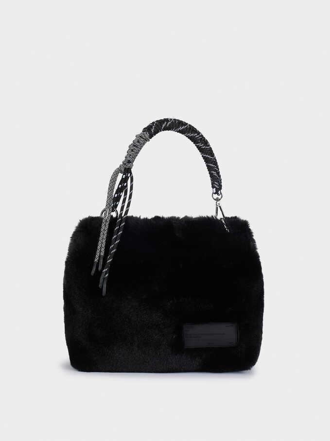 Faux Fur Crossbody Bag With Contrast Strap, Black, hi-res