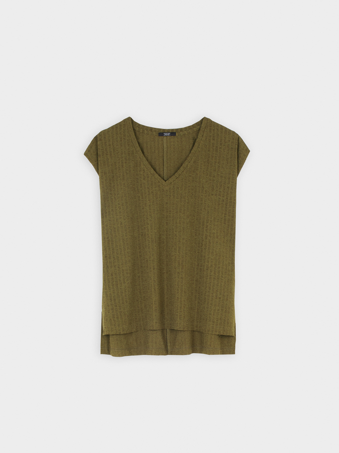 Sleeveless V-Neck Top, Khaki, hi-res