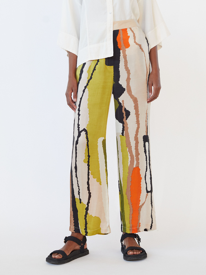 Limited Edition Wide-Leg Printed Trousers, Beige, hi-res