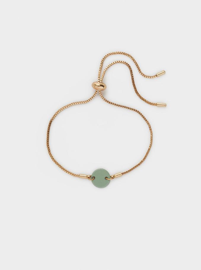 Metallic Adjustable Bracelet, Green, hi-res