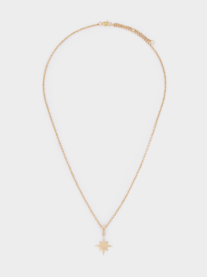 Short Stainless Steel Necklace With Star, Golden, hi-res