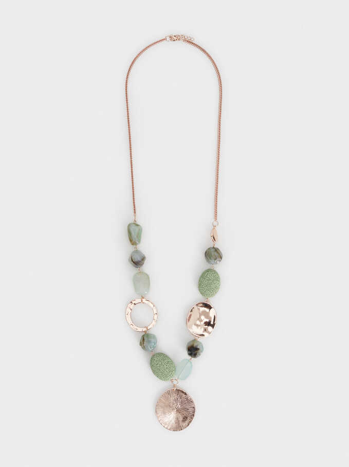 Aqua Beaded Long Necklace, Green, hi-res