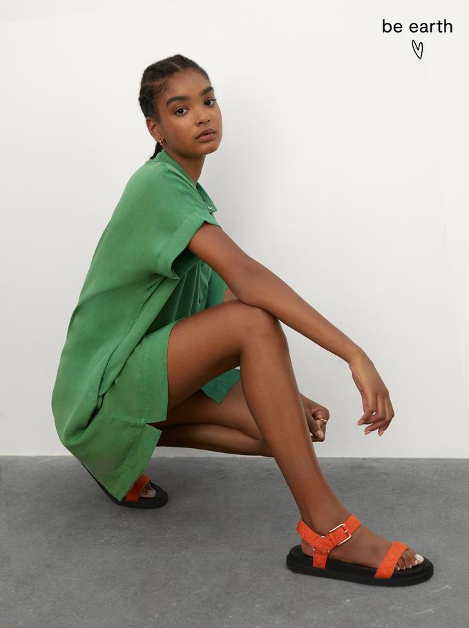 Lyocell Shirt Dress, Green, hi-res