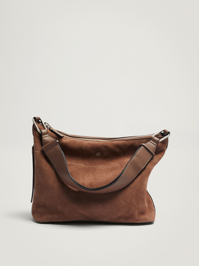 Contrast Suede Shoulder Bag, Brown, hi-res
