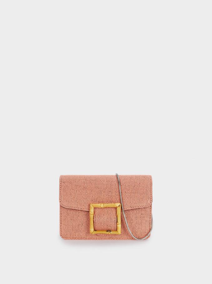 Textured Raffia Crossbody Evening Bag, Pink, hi-res