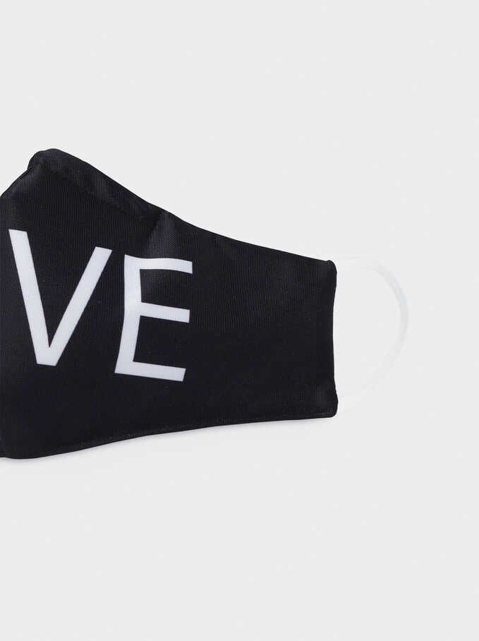 Love Print Reusable Face Mask, White, hi-res