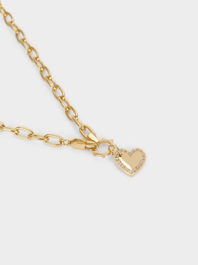 Colar Curto De Aço Com Coração, Dourado, hi-res