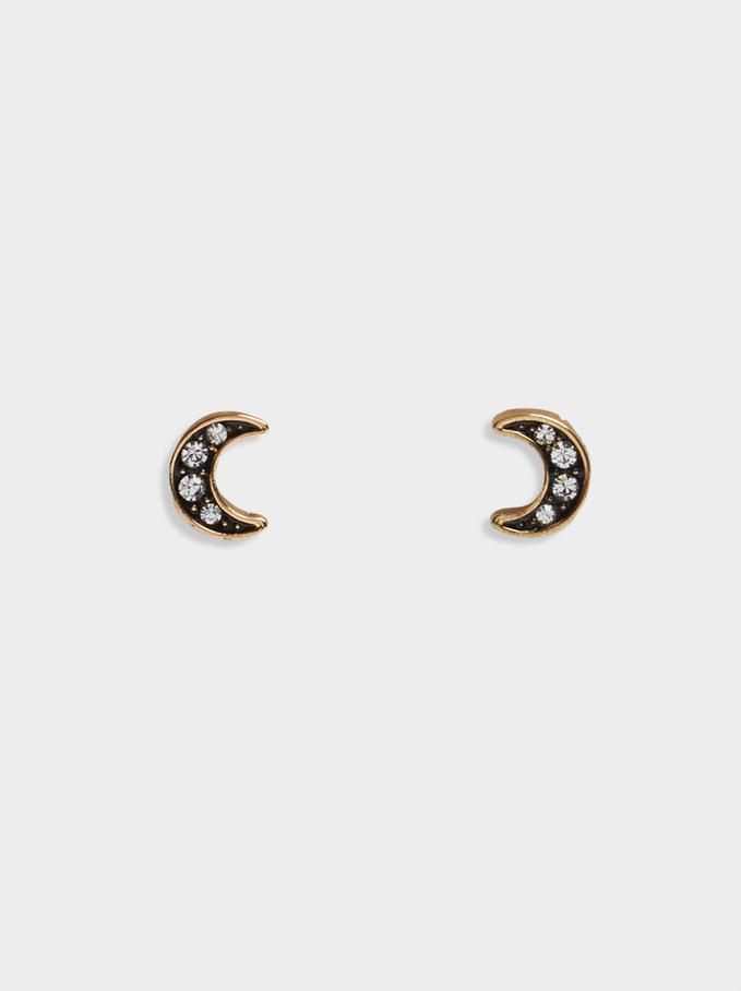 Short Earrings With Moon, Black, hi-res