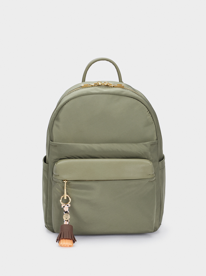 Nylon Backpack With Tassel Detail, Khaki, hi-res