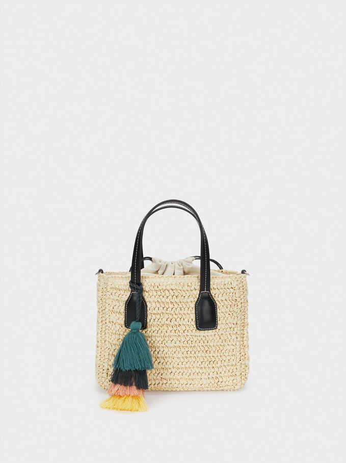 Woven Crossbody Bag With Pendants, Ecru, hi-res