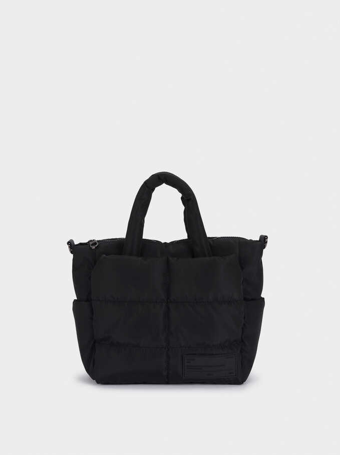 Nylon Quilted Tote Bag, Black, hi-res