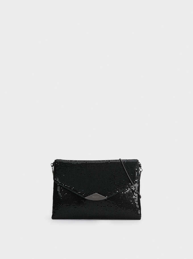 Mini Mesh Party Clutch, Black, hi-res