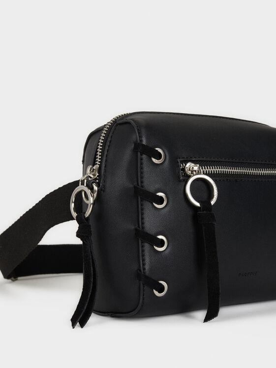 Embroidered Crossbody Bag, Black, hi-res