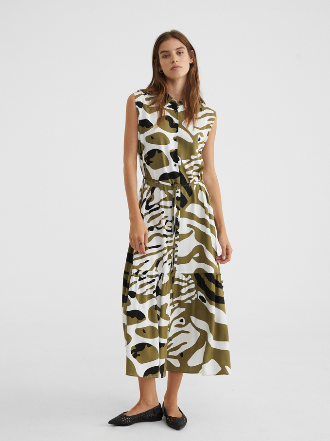 Animal Print Dress, Khaki, hi-res