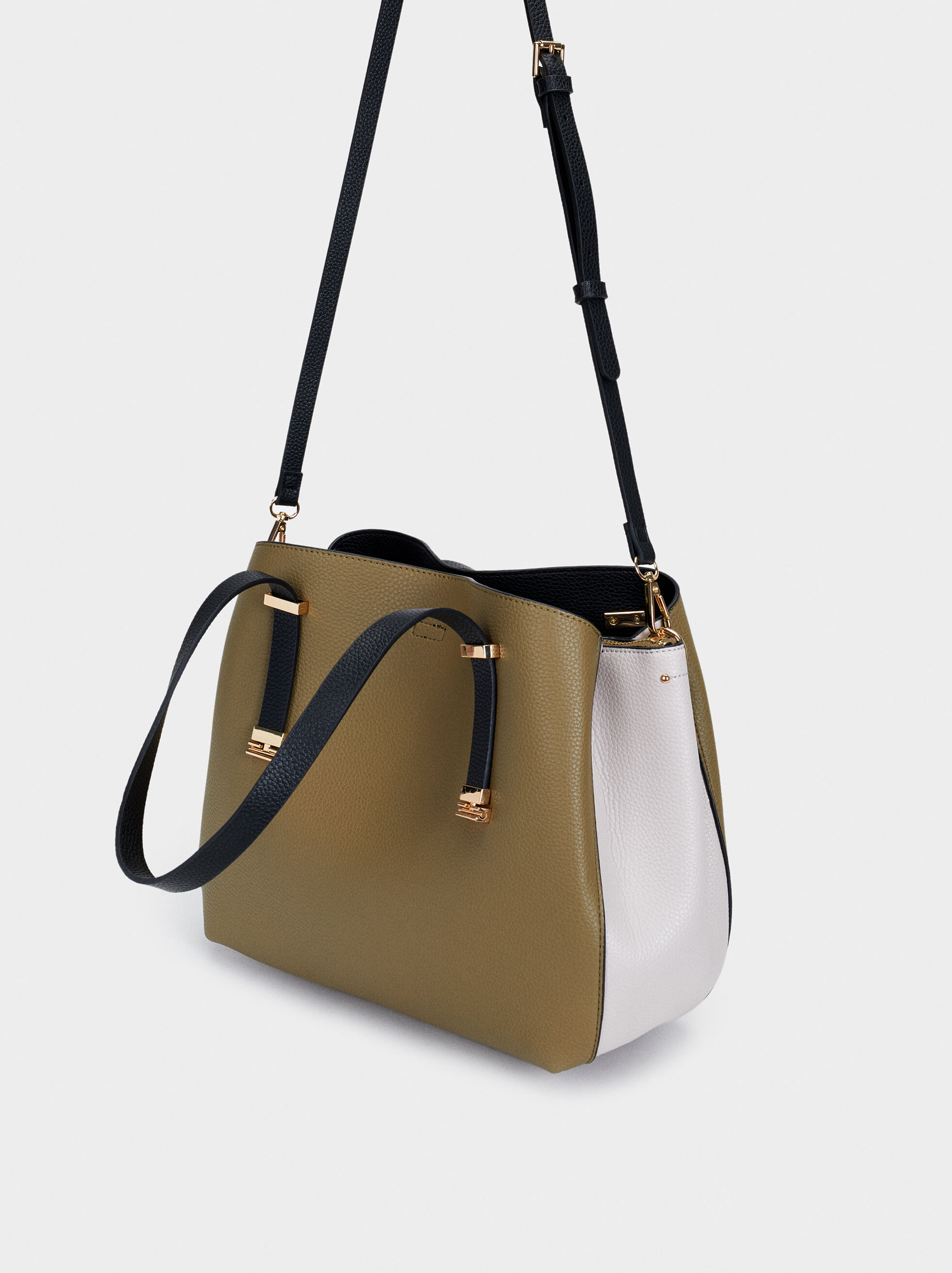 Embossed Tote Bag, Khaki, hi-res