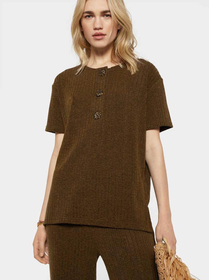 Striped Short Sleeve Top, Khaki, hi-res